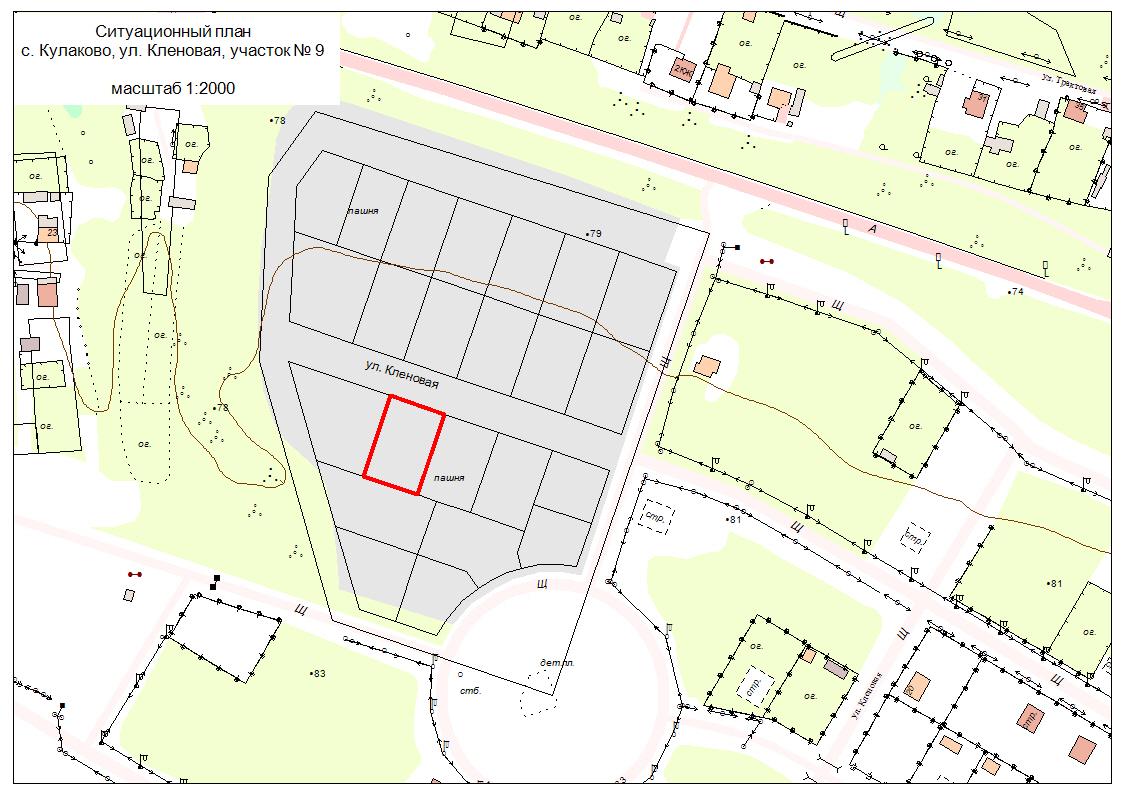 Образец ситуационного плана земельного участка